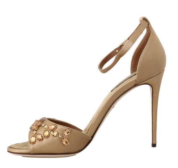 Gold Silk Ankle Strap Crystal Sandals