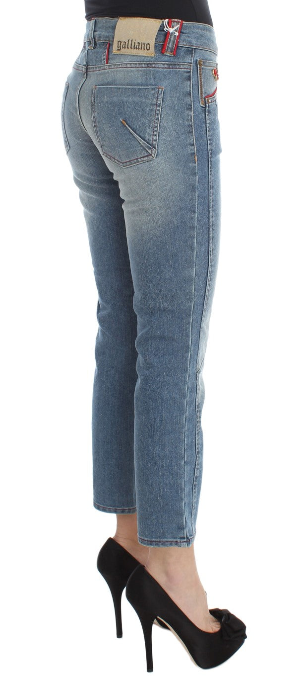 Blue Wash Cotton Blend Slim Fit Cropped Jeans