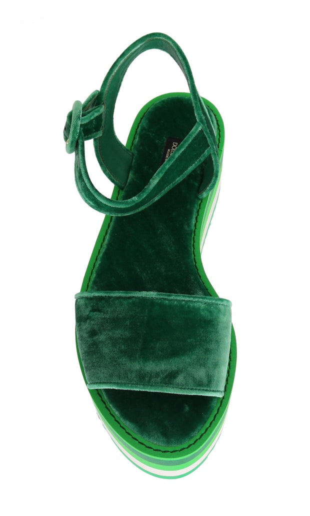 Green Velvet Platform Sandals Wedges