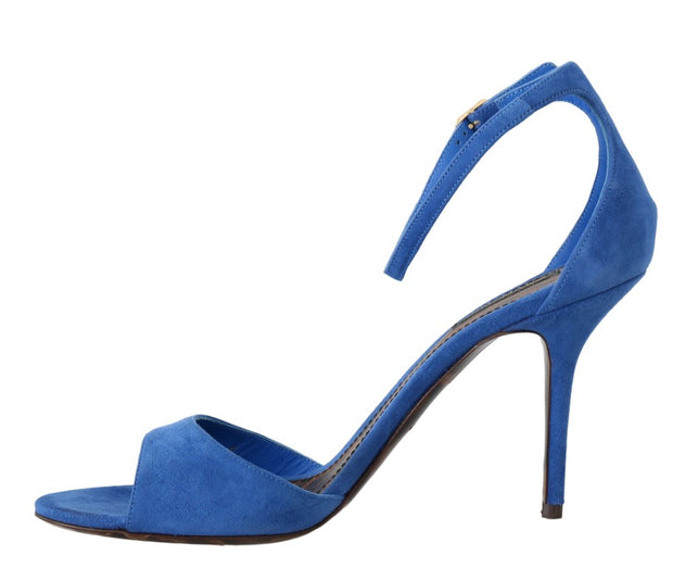 Blue Suede Ankle Strap Sandals