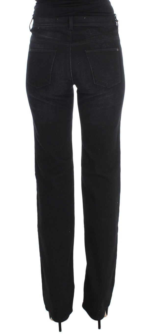 Dark Blue Cotton Blend Bootcut Jeans