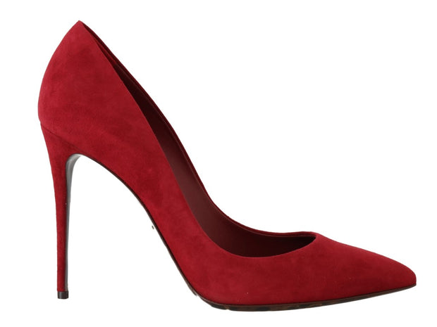Red Suede Stilettos Heels Pumps