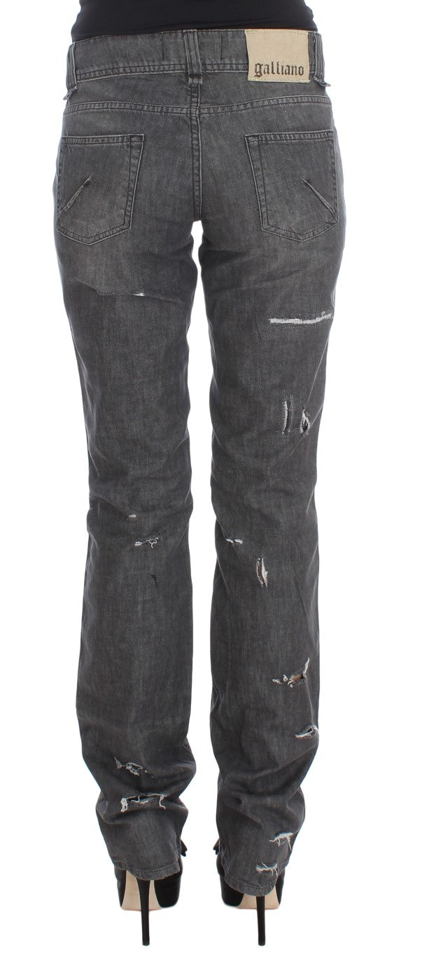 Gray Wash Cotton Torn Straight Fit Jeans