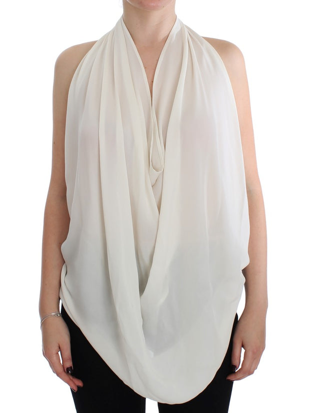 White Silk Sleeveless Blouse Top