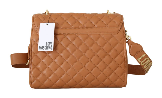 Beige Quilted Faux Leather Bag