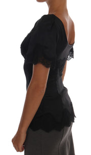 Black Lace Stretch Silk Blouse
