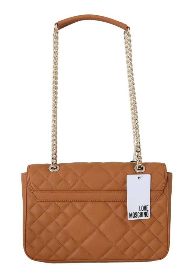 Beige Quilted Faux Leather Messenger Bag