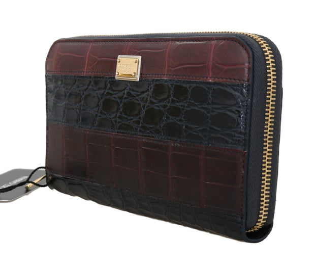 Brown Alligator Crocodile Leather Continental Wallet