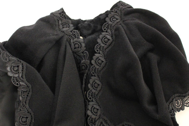 Black Cotton Brocade Long Cape Coat Jacket