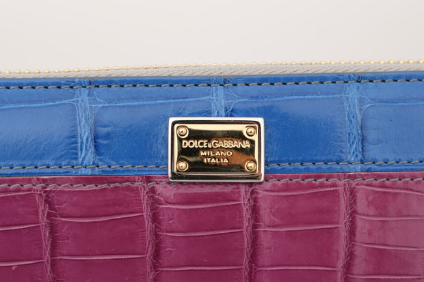 Multicolor Alligator Crocodile Leather Continental Wallet