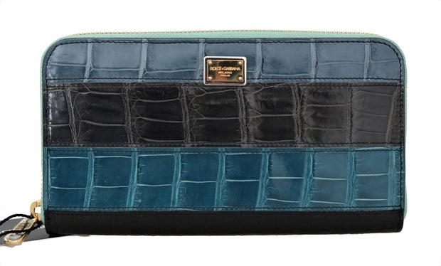 Multicolor Crocodile Leather Continental Wallet