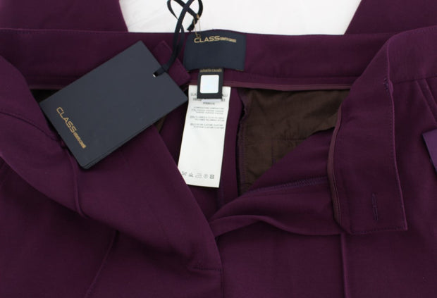 Purple Viscose Blend Slim Fit Dress Pants