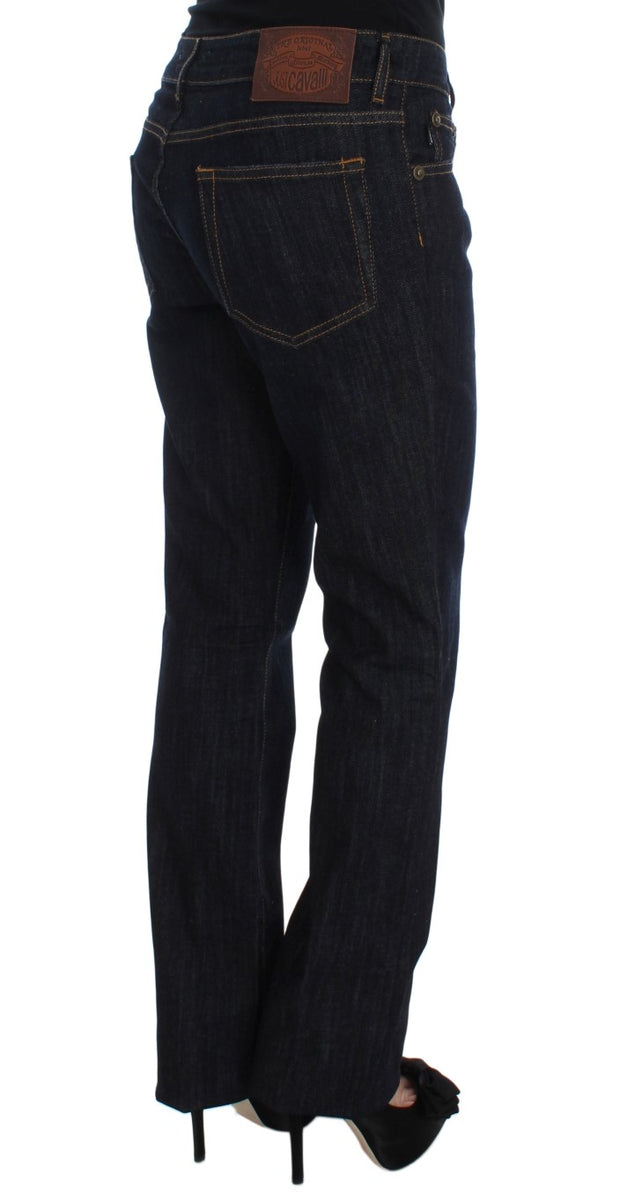 Blue Cotton Straight Fit Stretch Jeans