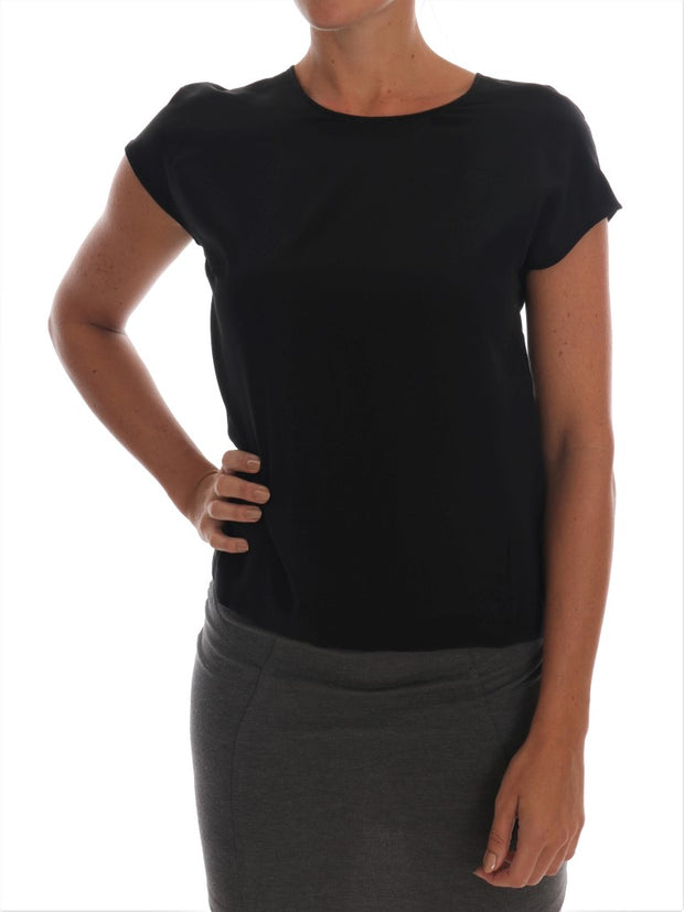 Black Silk Top T-shirt Crystal Blouse