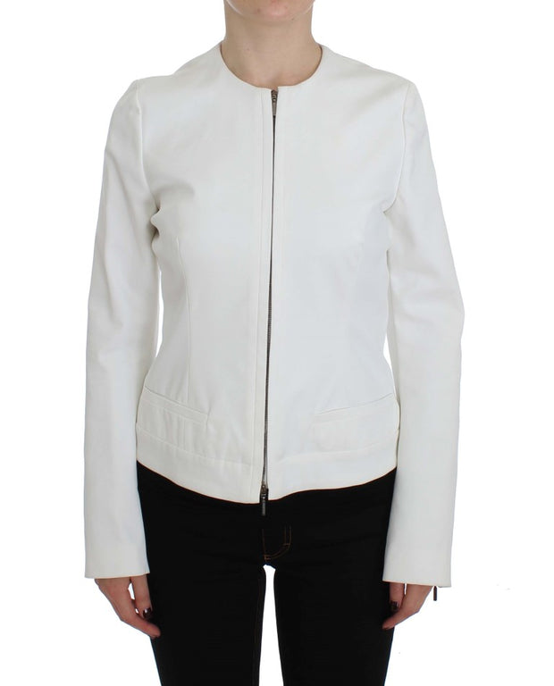 White Stretch Coat Jacket