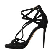 Black Suede Stiletto Heels Sandals