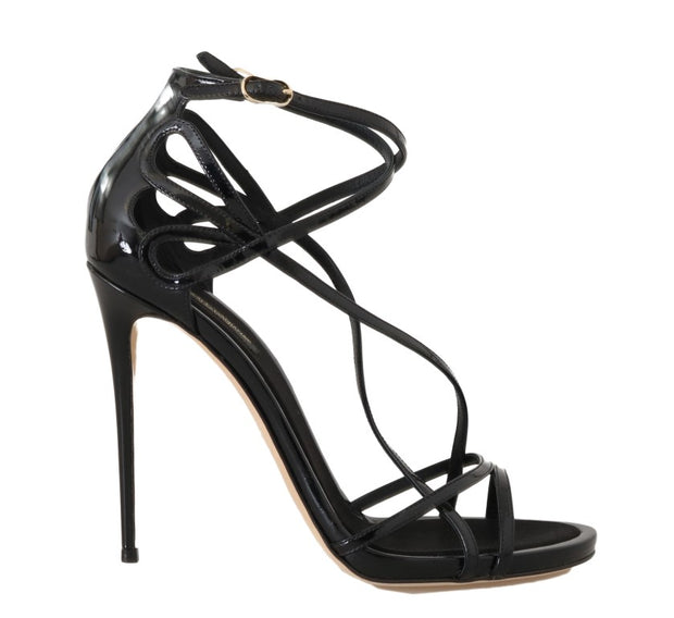 Black Leather Stiletto Heels Sandals