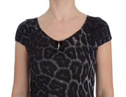 Gray Leopard Modal T-Shirt Blouse Top