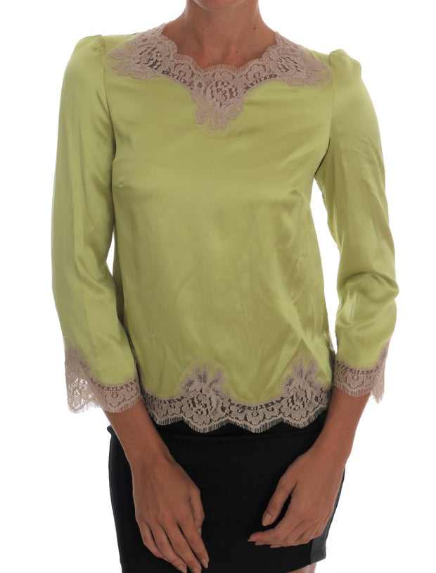 Green Silk Stretch Blouse Top