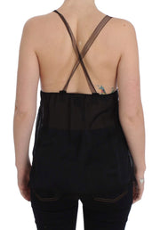 Black Silk Camisole Top Blouse