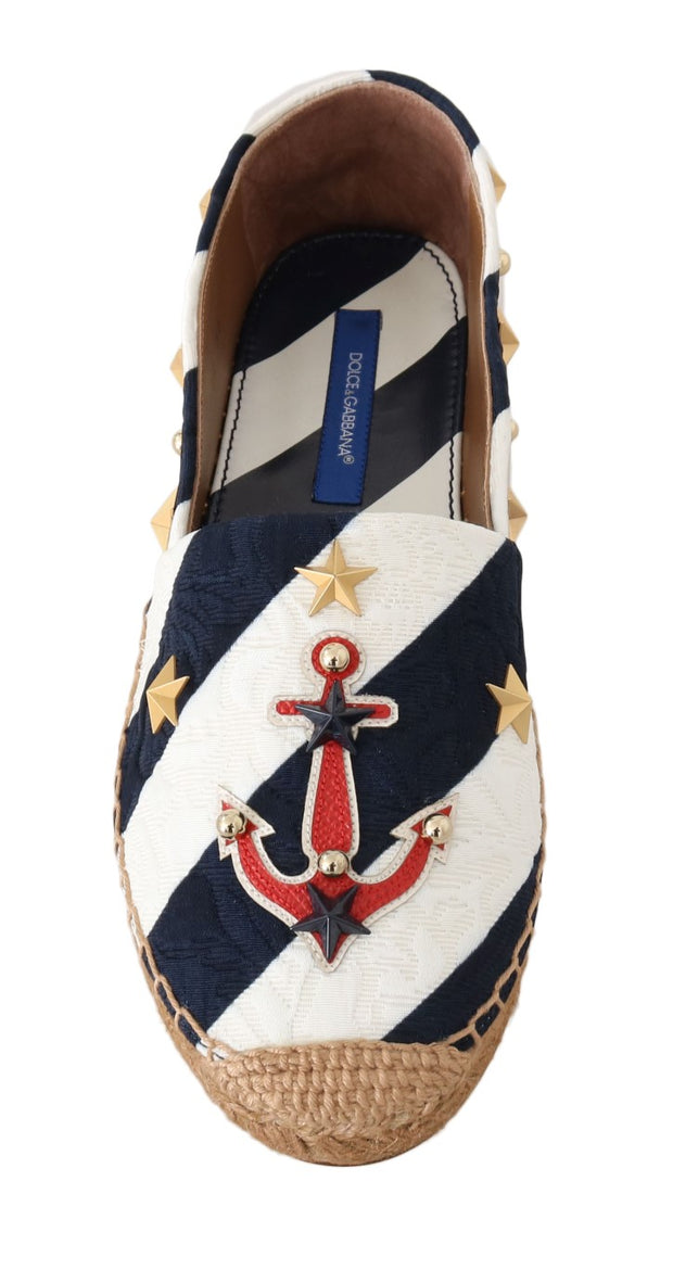 Blue White Loafers Anchor Espadrilles Shoes