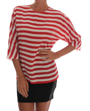 Red White Striped Silk T-Shirt