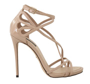 Beige Leather Stiletto Heels Sandals
