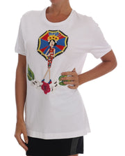 White Crystal Embellished MAMA Top T-Shirt