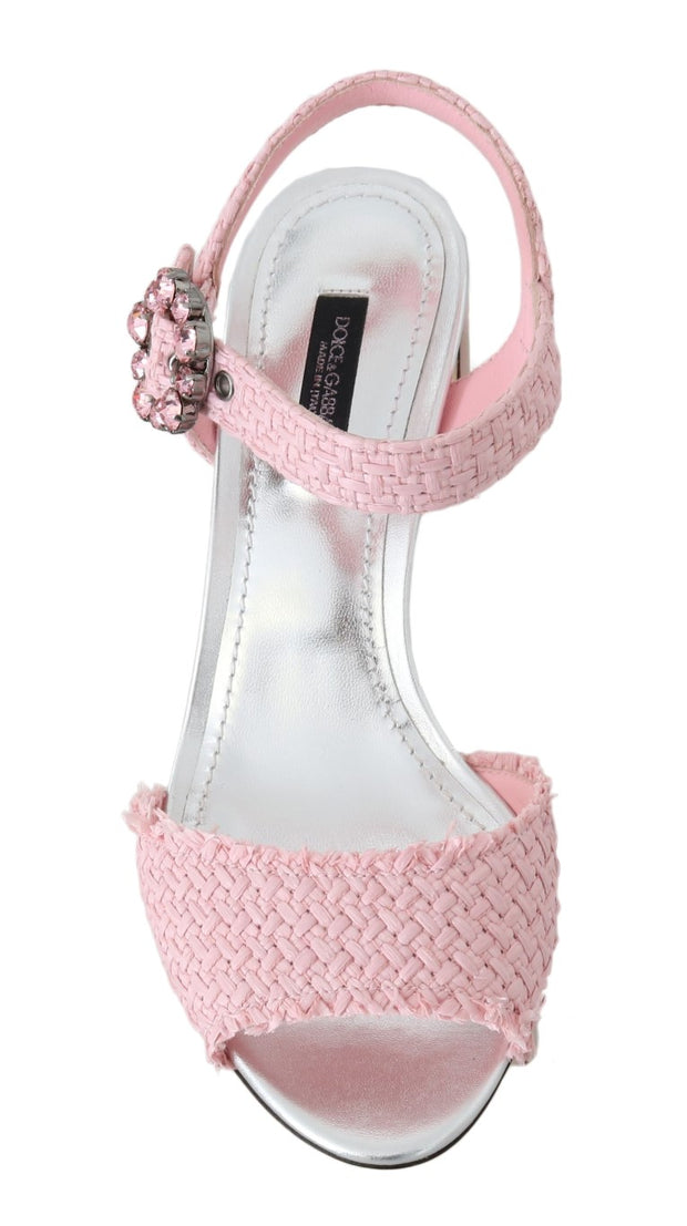 Pink Straw Crystal BAR Heel Sandals