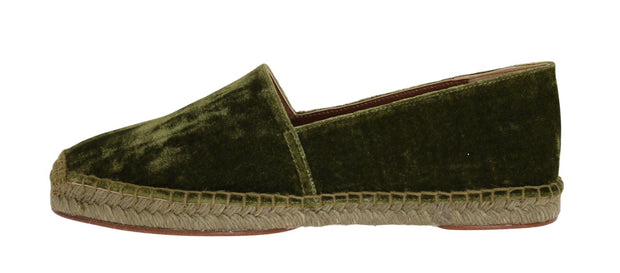 Green Velvet Flats Espadrilles Shoes