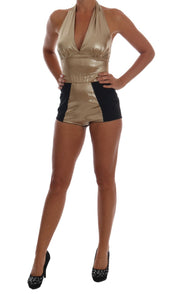 Gold Silk Stretch Romper Body