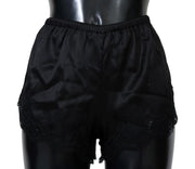 Black Silk Stretch High Waist Briefs