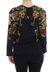 Black Key Floral Print Silk Blouse Top
