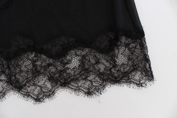 Black Silk Floral Lace Lingerie Top