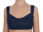 Blue Denim Cotton Bra Crop Top