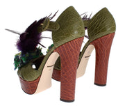 Caiman Crocodile Leather Crystal Shoes