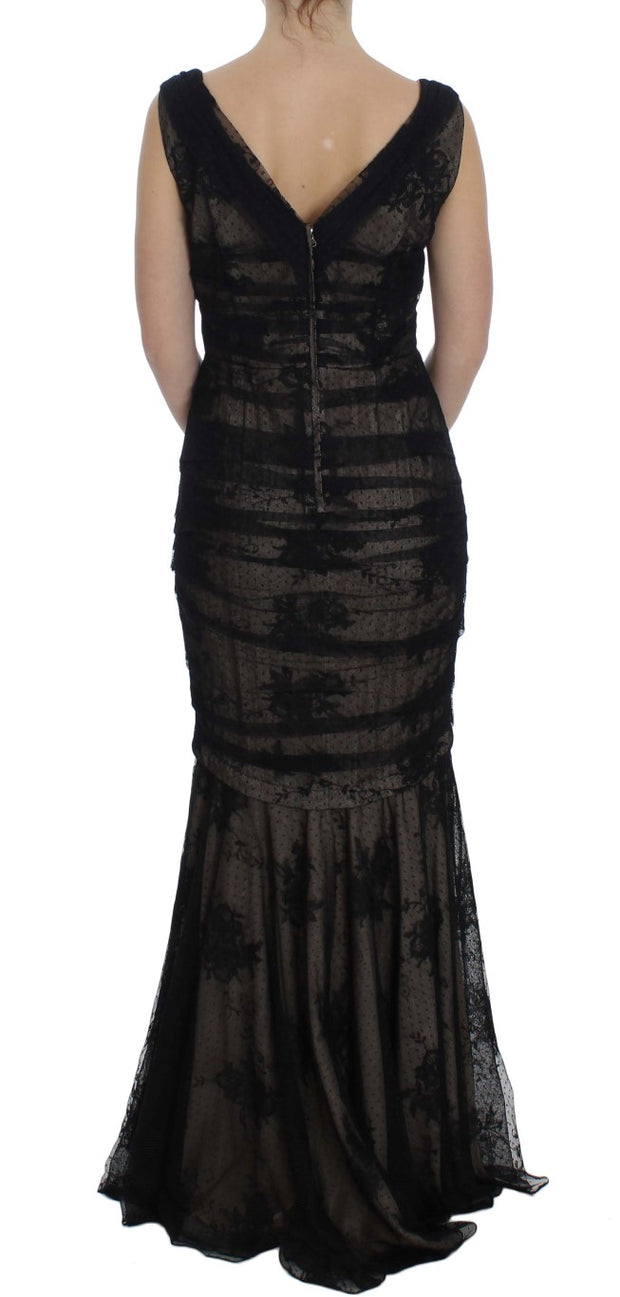 Black Floral Lace Long Bodycon Maxi Dress