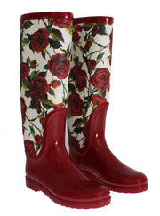 Red Roses Rubber Rain Boots