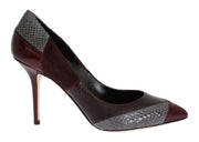 Bordeaux Leather Snakeskin Heels Shoes