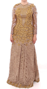 GOLD Long Lace Maxi Crystal Dress