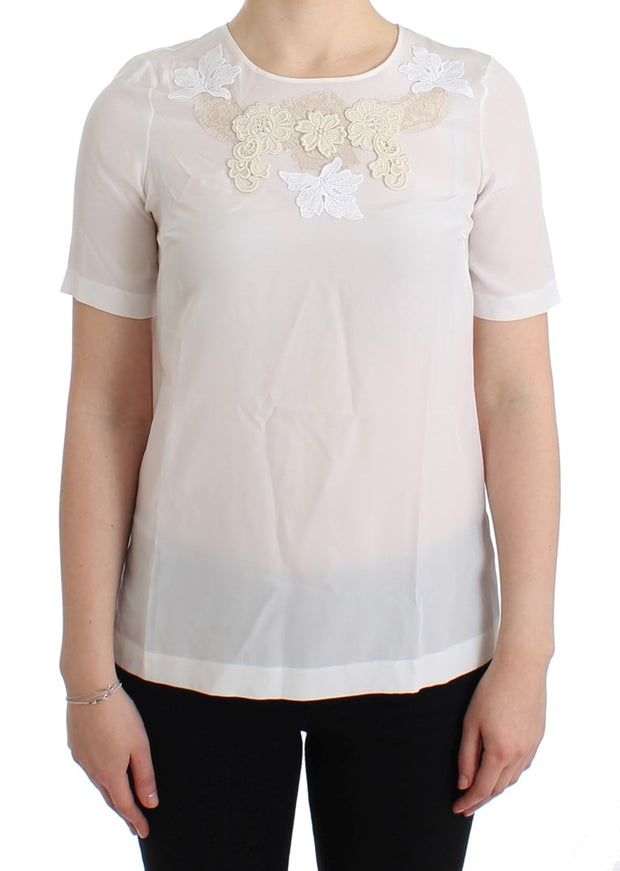 White Silk Embellished Floral Blouse