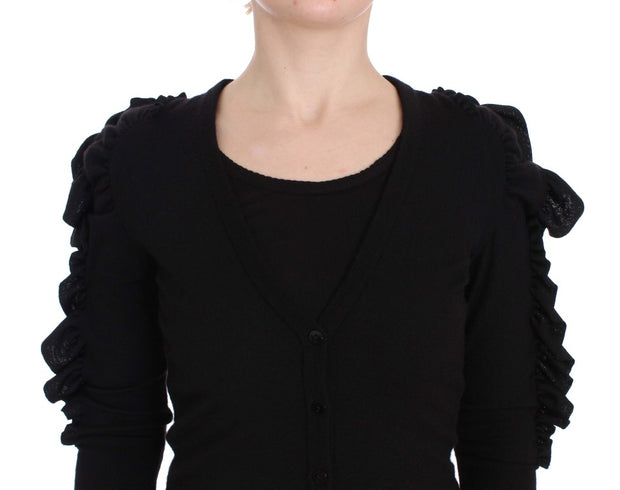 Black Cashmere Blend Ruffled Cardigan Sweater