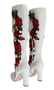 Roses Crystal Gold Heart Brocade Boots Shoes