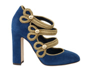 Blue Suede Gold Baroque Mary Janes Shoes