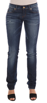 Blue Wash Cotton Stretch Skinny Low Jeans