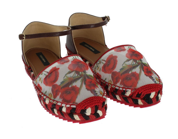 Floral Leather Espadrilles Sandals