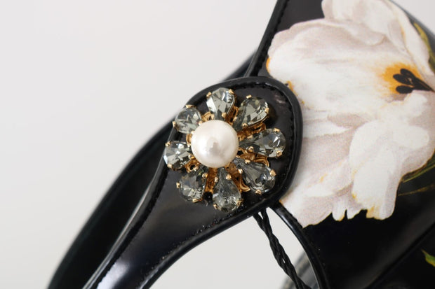 Black Tulip Leather Crystal Shoes