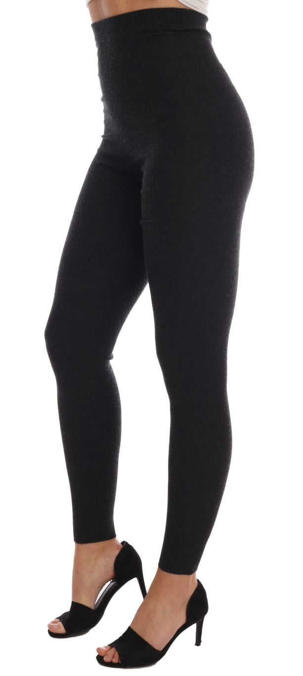 Gray Cashmere Ribbed Stretch Tights