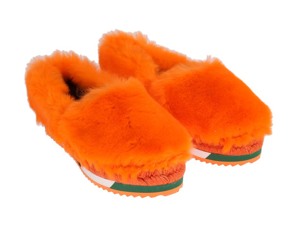 Orange Rabbit Fur Espadrilles Loafers