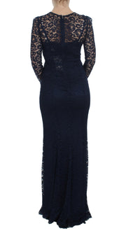 Blue Floral Lace Long Sleeve Sheath Dress